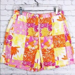 Lilly Pulitzer High Waisted Floral Owl Shorts Vtg